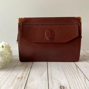 """Cartier vintage """"must de Cartier"""" red clutch bag"""